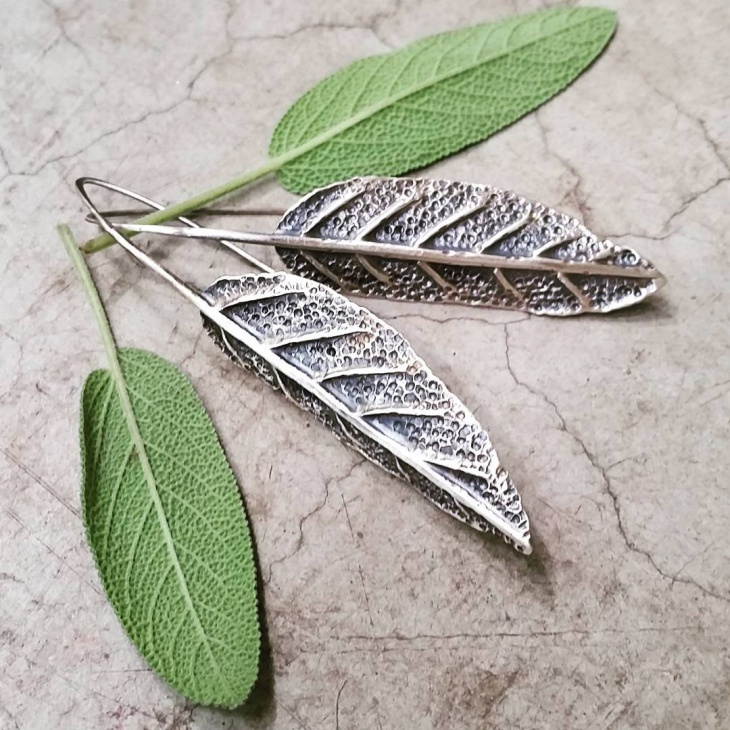 sage leaf earrings idea
