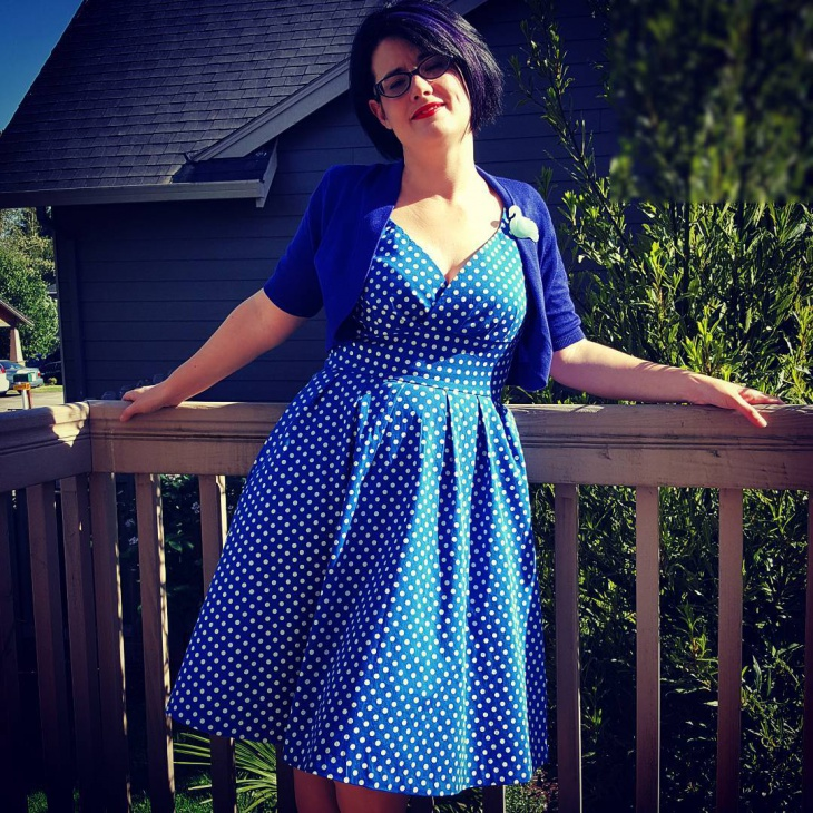 Blue and White Dotted Dress