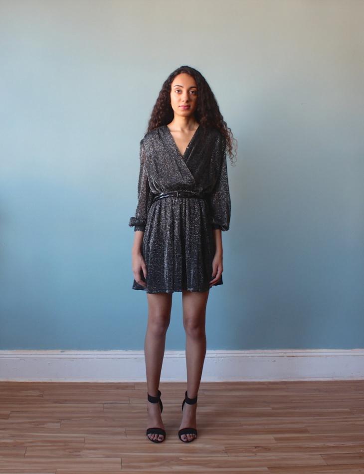 Silver Sparkle Mini Surplice Dress