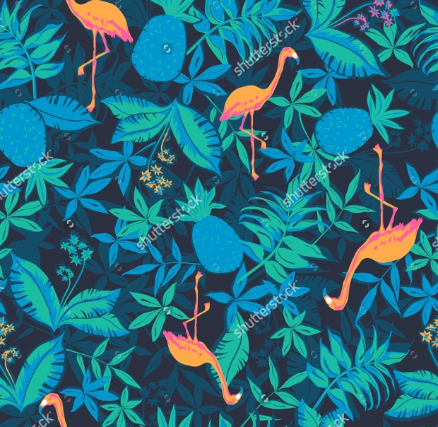 Tropical Nature Flamingo Pattern