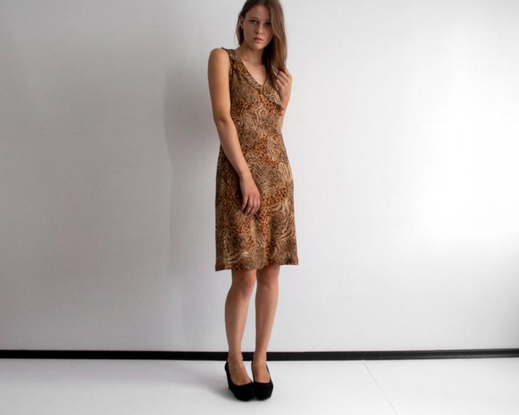 vintage leopard print mesh layer dress