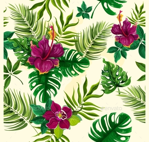 Tropical Plants and Flowers Seamless Pattern