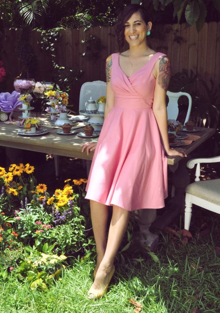 light pink surplice dress