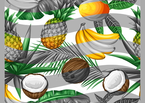 Pattern with Tropical Fruits