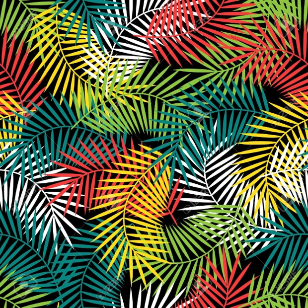 Tropical Pattern with Stylized Coconut Palm Leaves