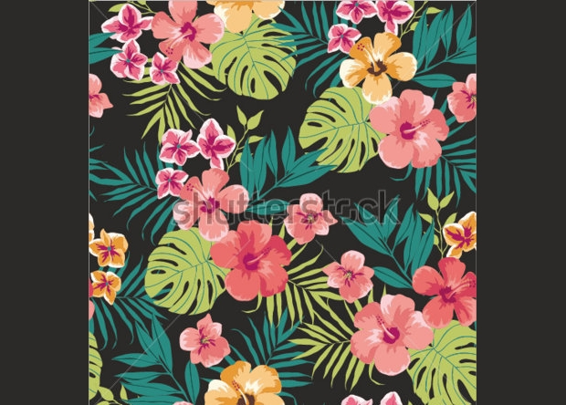 Seamless Tropical Flower Vector Pattern