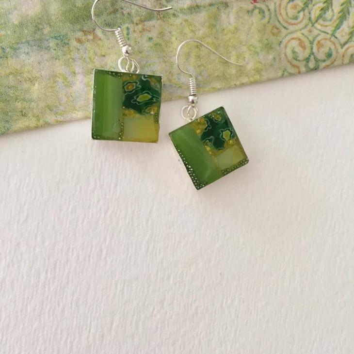 green color mosaic earrings