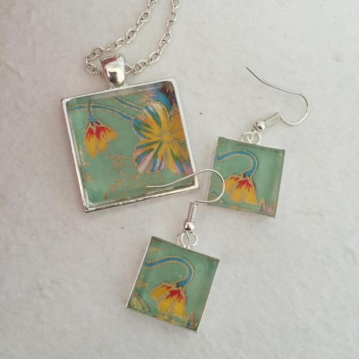 mosaic earrings and pendant set idea