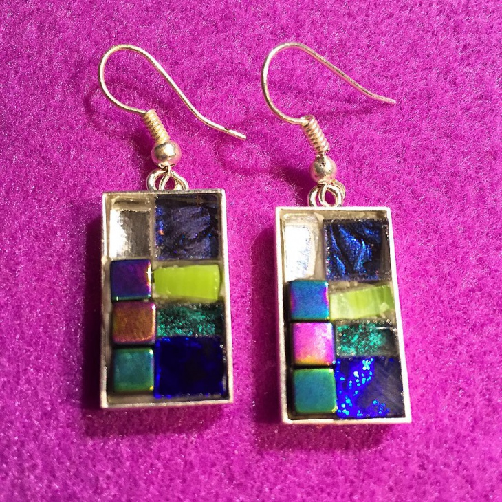 Colorful Glass Mosaic Earrings