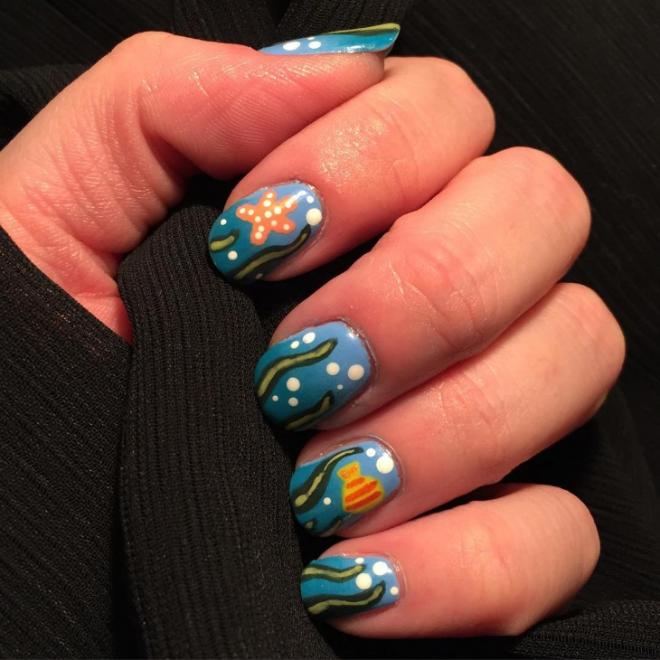 underwater fish nail design