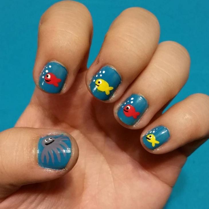 cute fish nail art idea