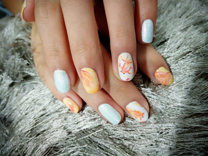 beautiful fish nail design