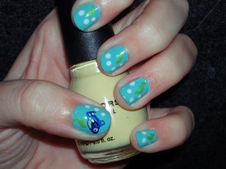 polka dot fish nail design