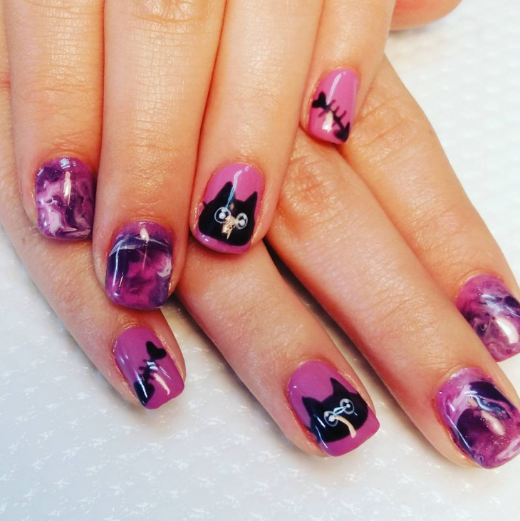 purple and black nail design