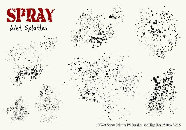 Wet Spray Splatter PS Brushes