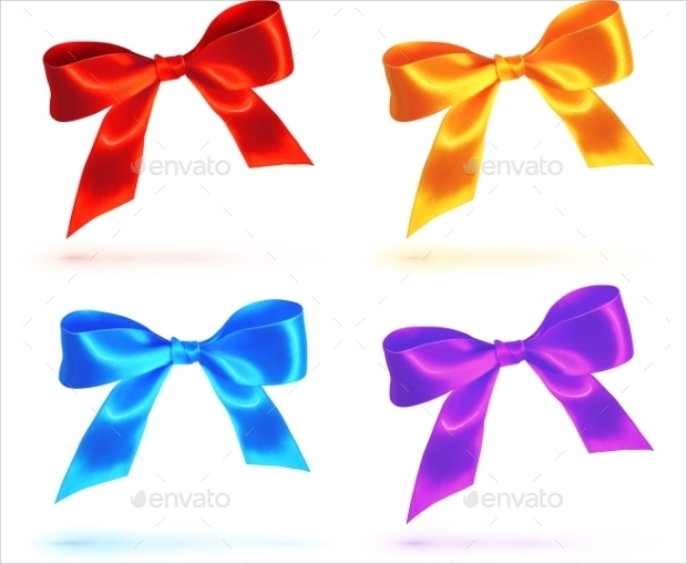 Bright Colorful Bow Vector Set