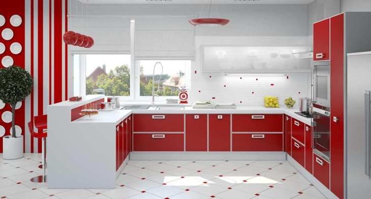 Red Kitchen Tile Design Ideas ~ Red and white kitchen designs ideas design trends premium