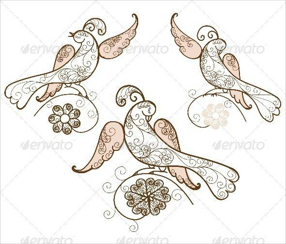 three bird ornament vector