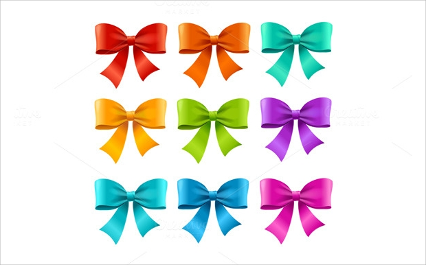 Bow Ribbon Colorful Vector Set