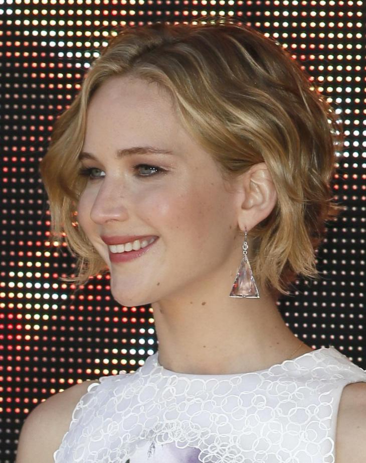 Jennifer Lawrence Curly Asymmetrical Pixie