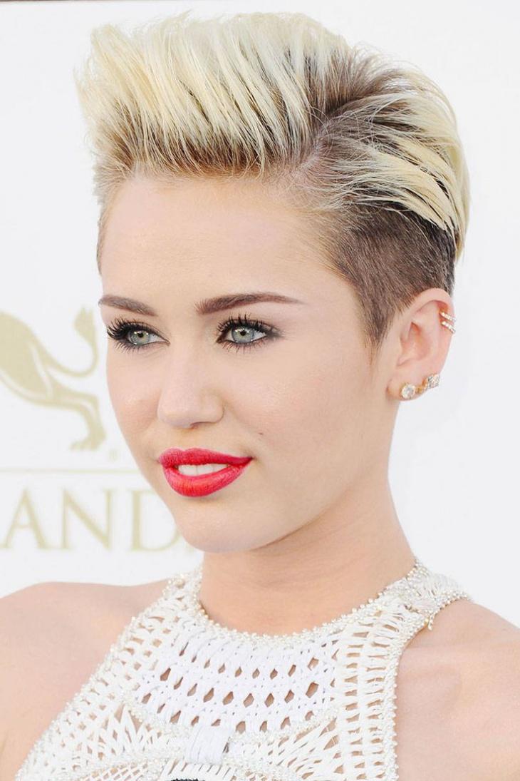 Miley Cyrus Undercut Asymmetrical Pixie Hair
