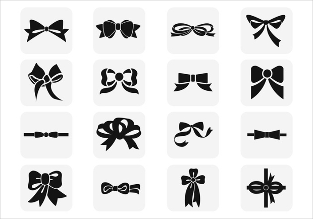 Polka Dotted Black Bow Vector
