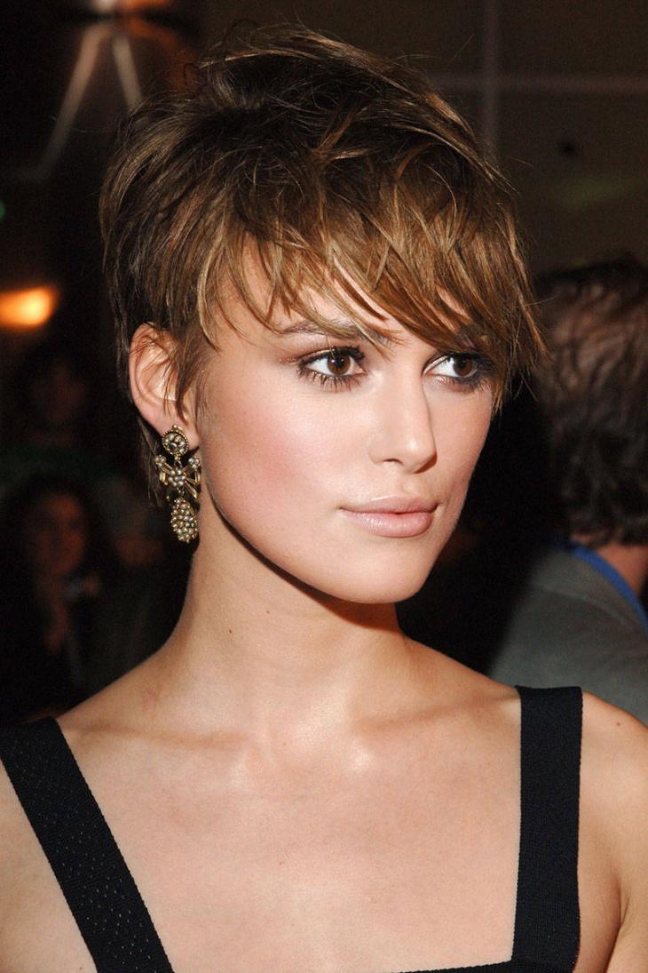 Keira Knightley Layered Asymmetrical Pixie Cuts