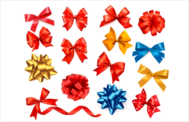 Shiny Ribbon with Bow Vector Set