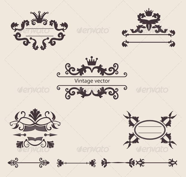 Vintage Decorative Ornamental Borders