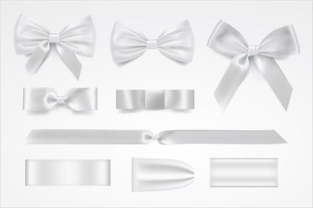 Silver Bow Vector Set