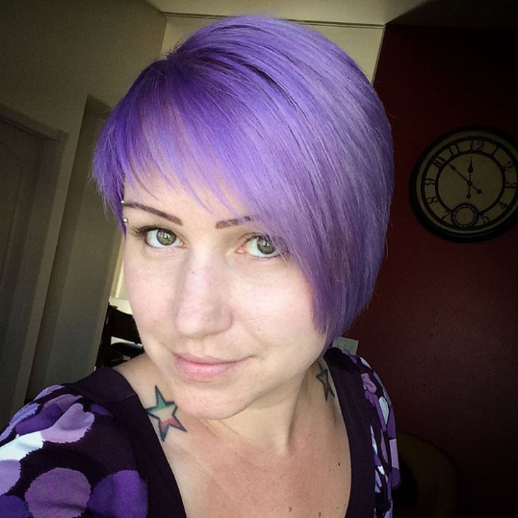 Purple Color Pixie Haircut