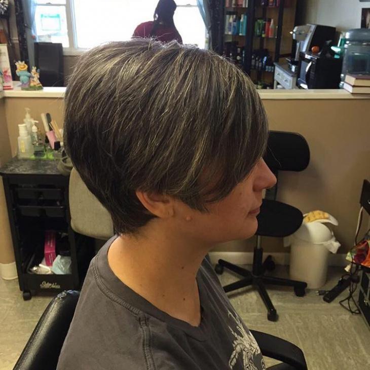 Grey Color Pixie Haircut Idea
