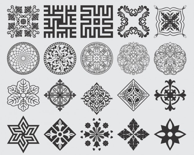 floral ornament collection vectors