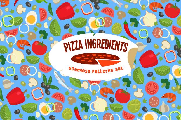 Pizza Ingredient Pattern Design