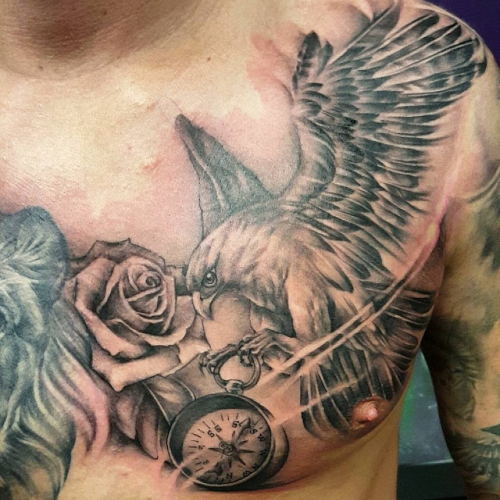 hawk chest tattoo design
