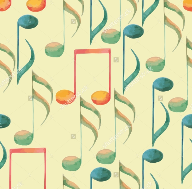 watercolor music pattern