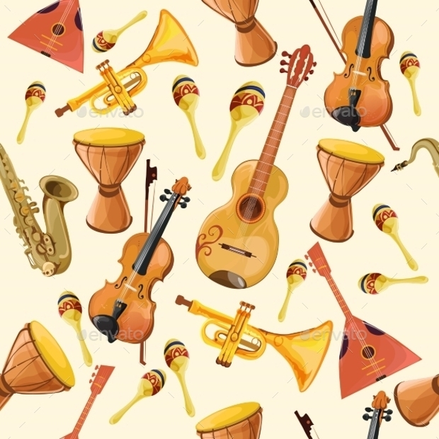 seamless music equipment pattern