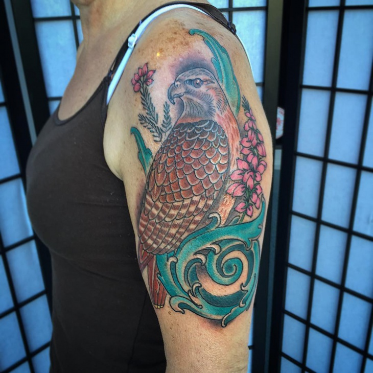 colorful hawk tattoo idea