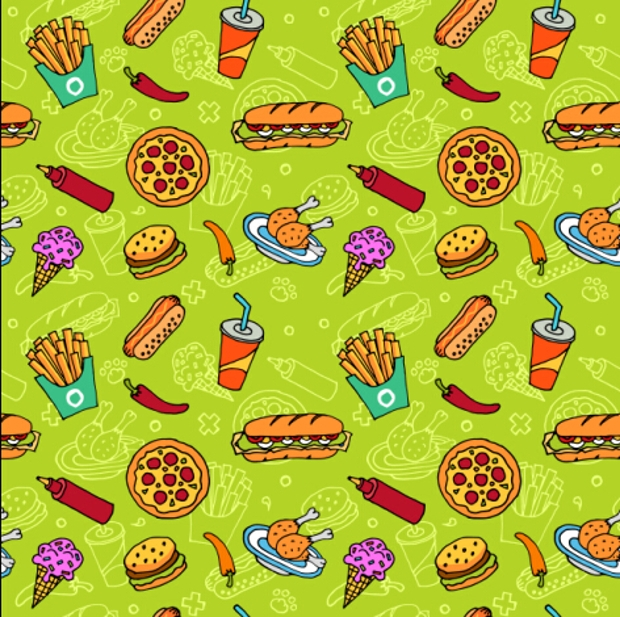 Fast Food with Pizza Vector Seamless Pattern