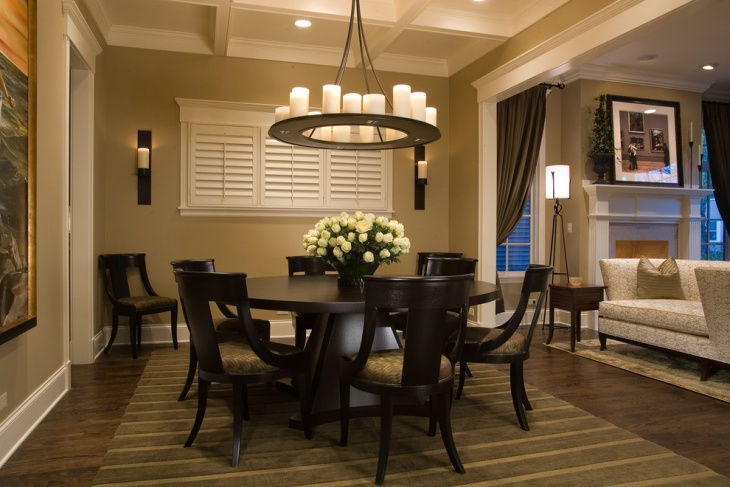 Dining Room With Candle Pendant Light