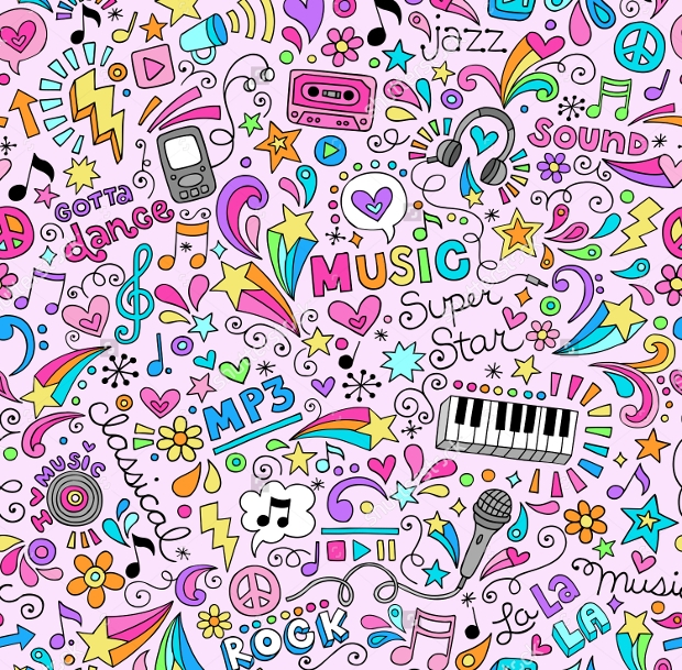 music doodles groovy seamless pattern