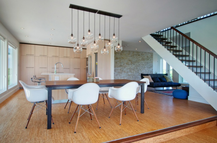 dining room with creative pendant light