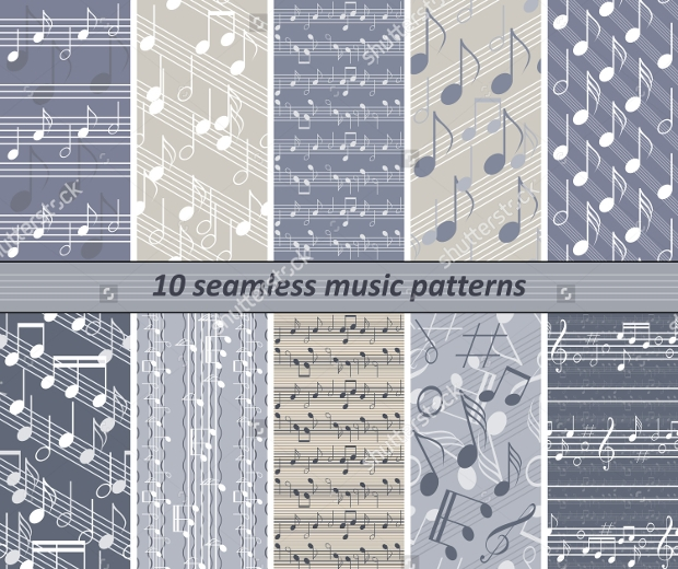 Set of 10 Seamless Music Patterns