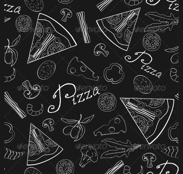 Black and White Pizza Seamless Pattern
