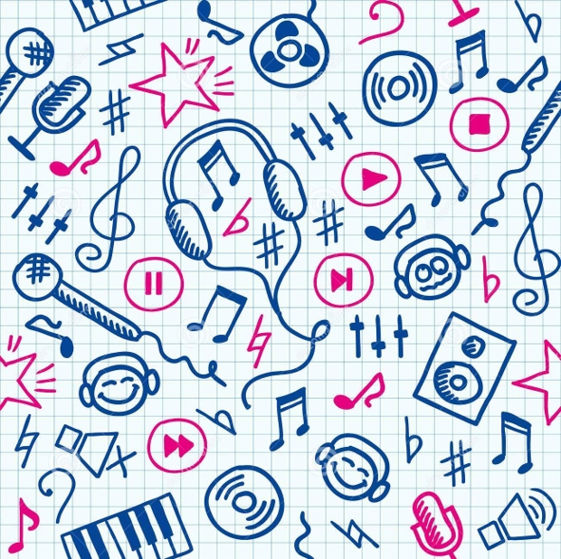 funny hand drawn music seamless pattern