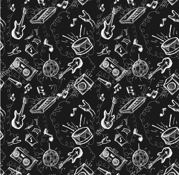 Black Desk Music Symbols Seamless Pattern