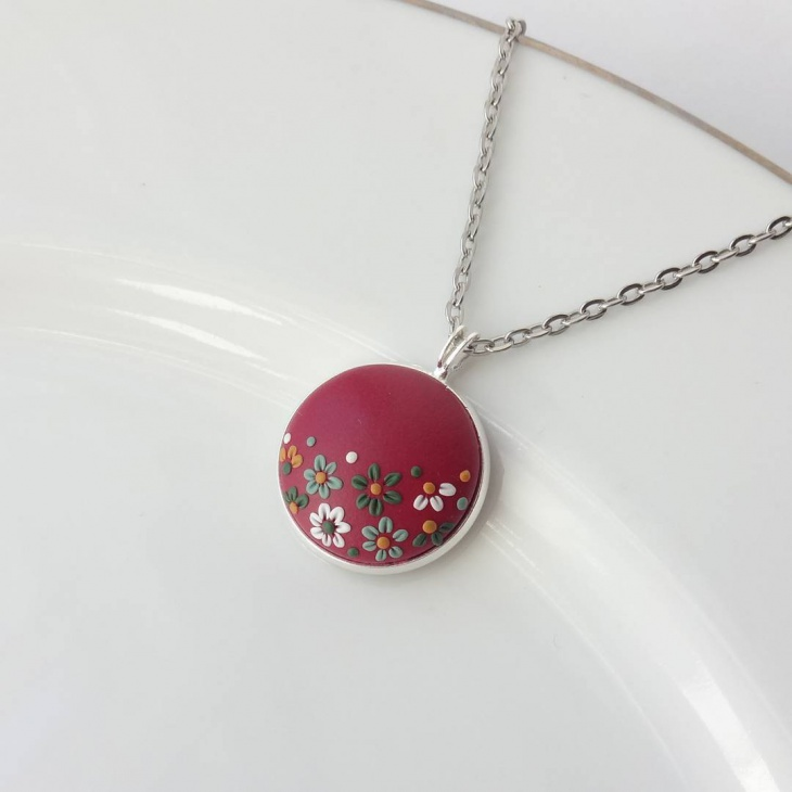 Crystal Floral Pendant Necklace