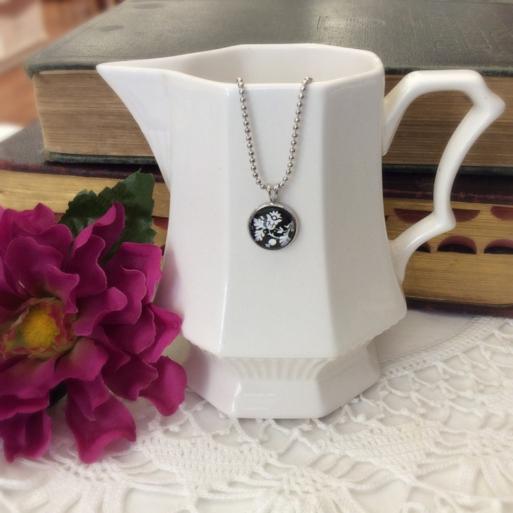 Black and White Floral Pendant