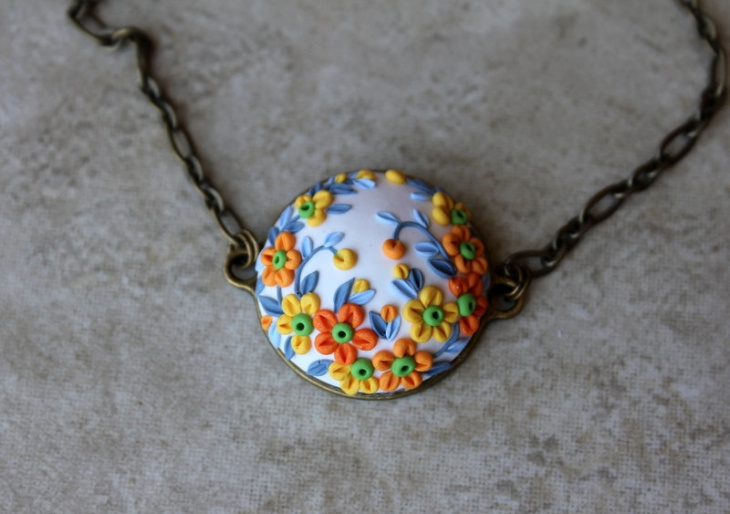 Clay Floral Pendant Necklace