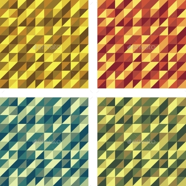 set of colorful geometric seamless texture